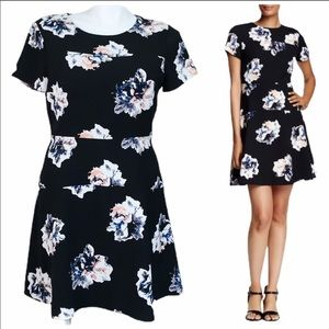 Vince Camuto black duet floral dress size 14